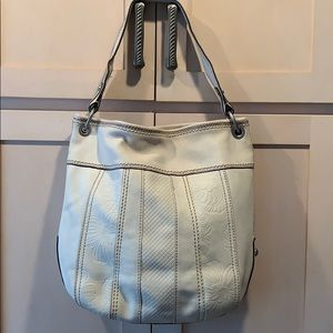 Fossil large bag tote shoulder purse white leather
